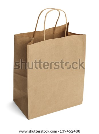 Brown Shopping Bag with Handles Isolated on White Background. - stock photo