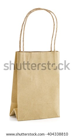 Brown Shopping Bag with Handles Isolated on White Background. clipping part