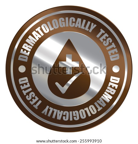 Brown Silver Metallic Circle Dermatologically Tested Icon, Label, Banner, Tag or Sticker Isolated on White Background  - stock photo