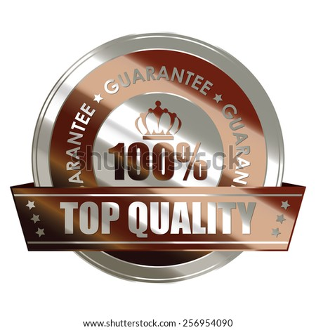 brown silver metallic 100% top quality guarantee medal, sticker, sign, badge, icon, label isolated on white - stock photo