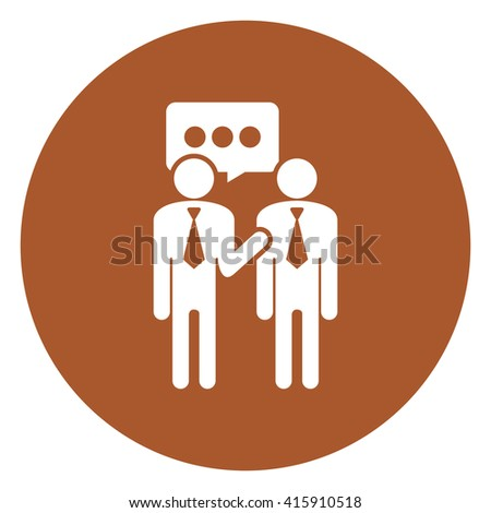Brown Simple Circle Businessman Talking, Business Trading, Business Deal Infographics Flat Icon, Sign Isolated on White Background  - stock photo