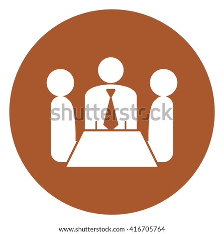 Brown Simple Circle Group of Businessman Meeting, Discussion Flat Icon, Sign Isolated on White Background - stock photo