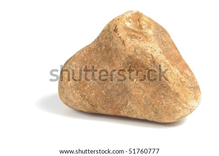 Brown single heavy stone isolated over white background with clipping path