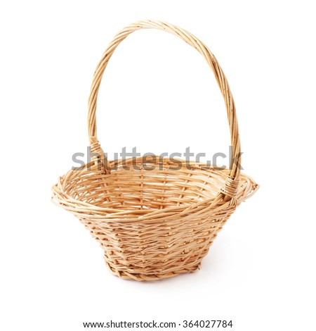 Brown small wicker basket isolated over the white background - stock photo