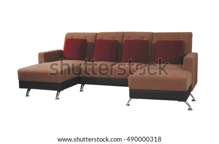 Brown sofa isolated on white background with clipping path.