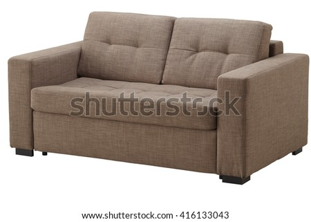 Brown sofa isolated on white include clipping path
