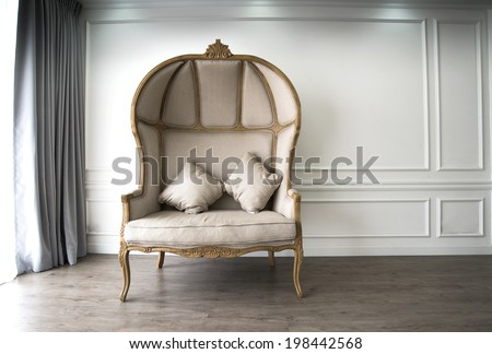 Brown sofa with luxurious look - stock photo