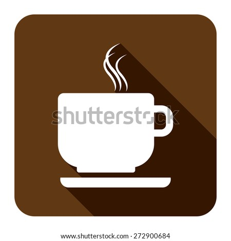 Brown Square Coffee Cup or Coffee Shop Long Shadow Style Icon, Label, Sticker, Sign or Banner Isolated on White Background - stock photo
