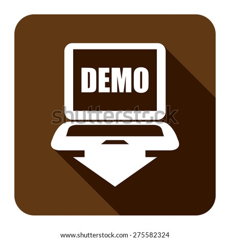 Brown Square Computer Laptop With Demo Text on Screen Monitor Flat Long Shadow Style Icon, Label, Sticker, Sign or Banner Isolated on White Background - stock photo