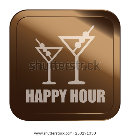 Brown Square Metallic Style Happy Hour Sticker, Label, Button or Icon Isolated on White Background  - stock photo