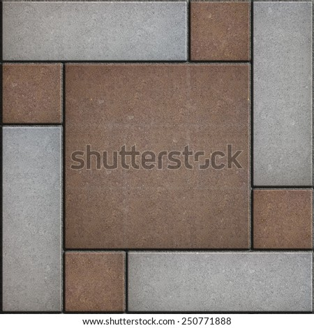 Brown Square Paved with Small Square Corners and Gray Rectangles. Seamless Tileable Texture. - stock photo