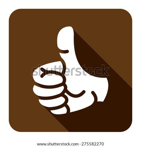 Brown Square Thumb Up Flat Long Shadow Style Icon, Label, Sticker, Sign or Banner Isolated on White Background