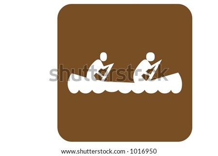 Brown Square US Parks And Recreation Sign containing the international symbol for  a canoe isolated on a white background. - stock photo