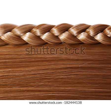 Brown Straight Hair and Braid or Plait isolated on white. Hair Care. Hair Salon - stock photo