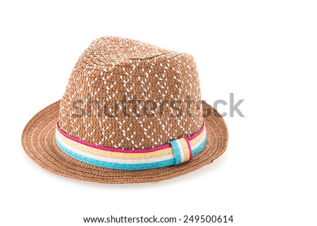 Brown straw hat isolated on white background - stock photo