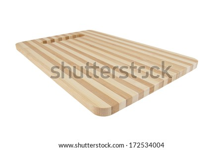 Brown striped cutting board isolated on white background