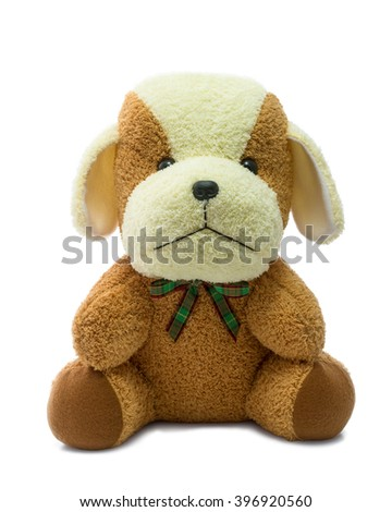 Brown stuffed dog isolated on white background. - stock photo