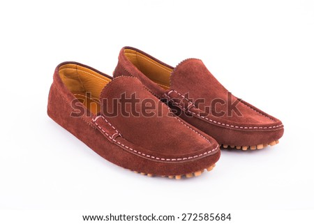 Brown suede leather loafers pair isolated on white background - stock photo