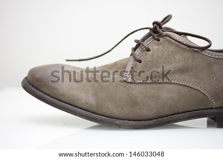 Brown Suede Leather Shoes Profile - stock photo