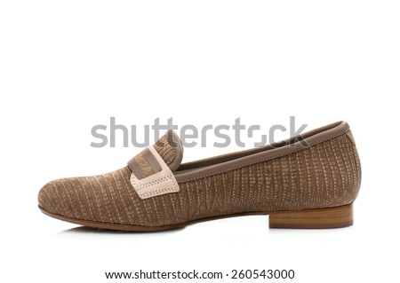 Brown suede women loafer isolated on white background.