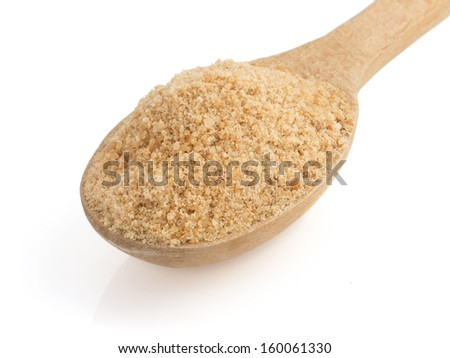 brown sugar and spoon isolated on white background - stock photo