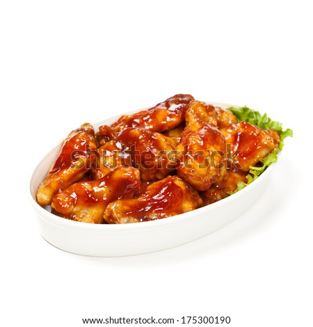 Brown Sugar Barbecue Baked Chicken Wings - stock photo