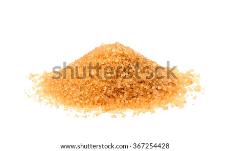 Brown sugar closeup isolated on a white background.