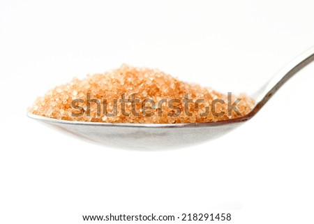brown sugar in a spoon - stock photo