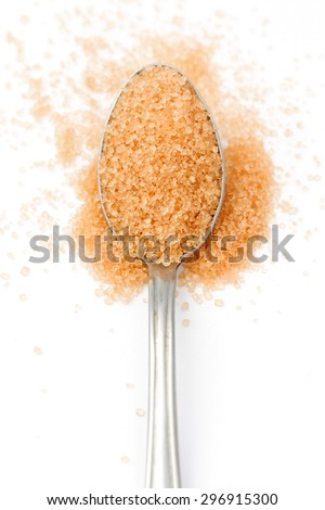brown sugar in a spoon on white - stock photo
