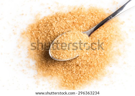 brown sugar in a spoon on white background - stock photo