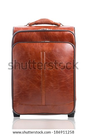 Brown suitcase isolated against a white background - stock photo