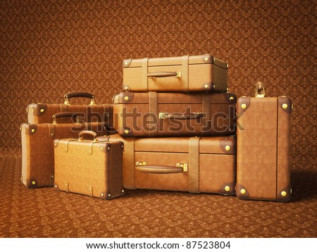 brown suitcase isolated on a brown  background