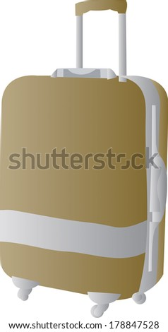 Brown suitcase isolated over white background - stock photo
