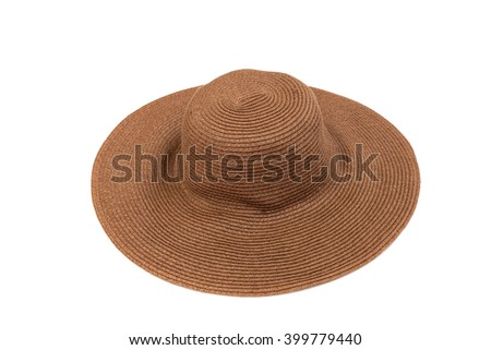 brown summer hat, isolated on white