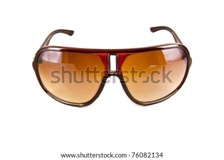 Brown sunglasses isolated on the white background - stock photo