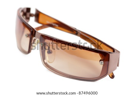 Brown sunglasses isolated over white background