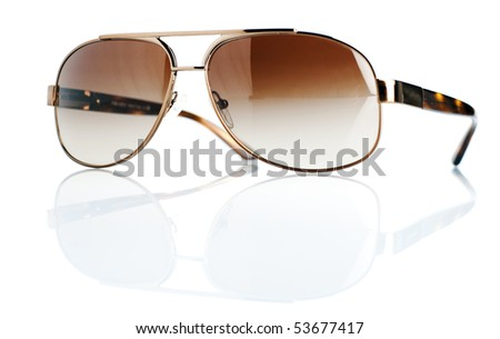 Brown sunglasses on isolated white background - stock photo