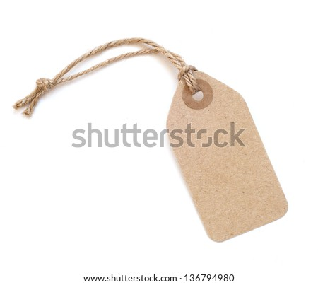 Brown tag isolated on white background
