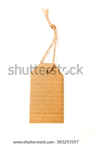 Brown tag or label on white background
