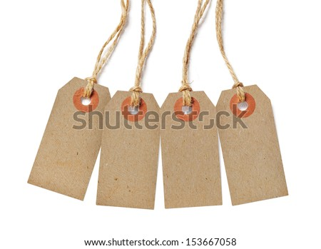 Brown tags isolated on white background - stock photo