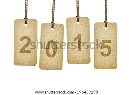 Brown tags lettering 2015 - stock photo