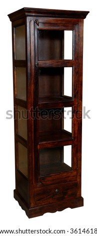 Brown tall cupboard with glass door - stock photo
