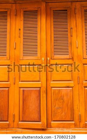 Brown teak wood door  - stock photo
