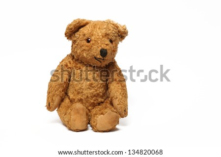 brown teddy bear isolated on white - stock photo
