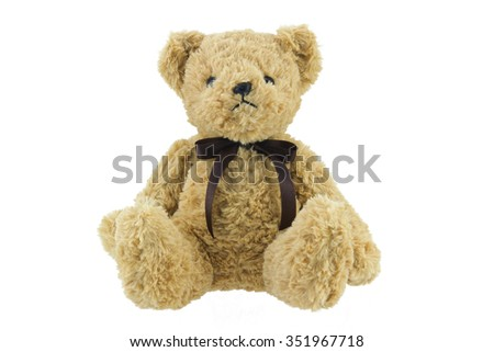 brown teddy bear isolated on white background - stock photo