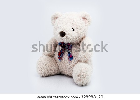 Brown teddy bear isolated on white background, Classic teddy bear - stock photo