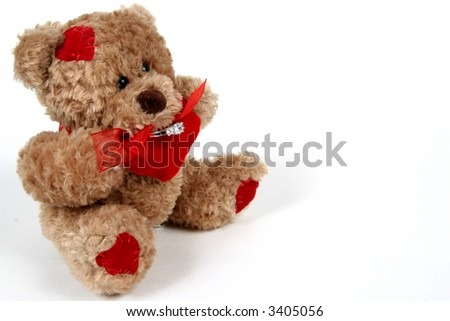 Brown Teddy Bear with ring on white background