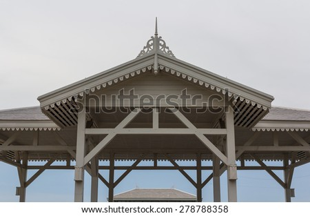 Brown tile roof on sky. - stock photo