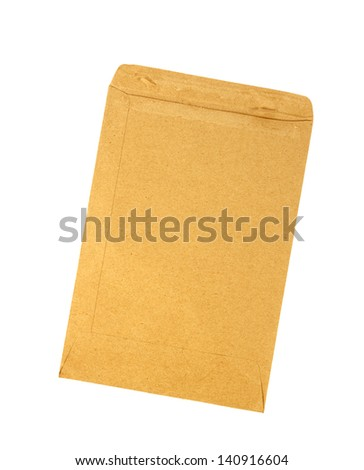 Brown torn envelope isolated on white background