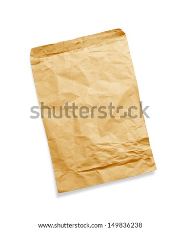 Brown torn envelope isolated on white background - stock photo